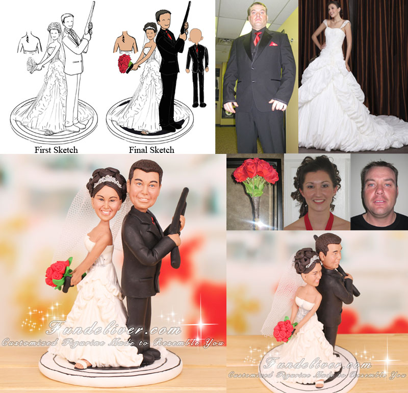Back to Back Couple Carrying Handgun and Shotgun Wedding Cake Toppers