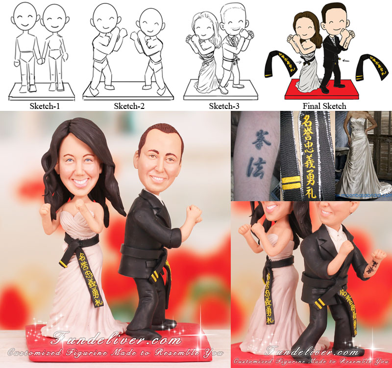 Martial Arts Artists Wedding Cake Toppers