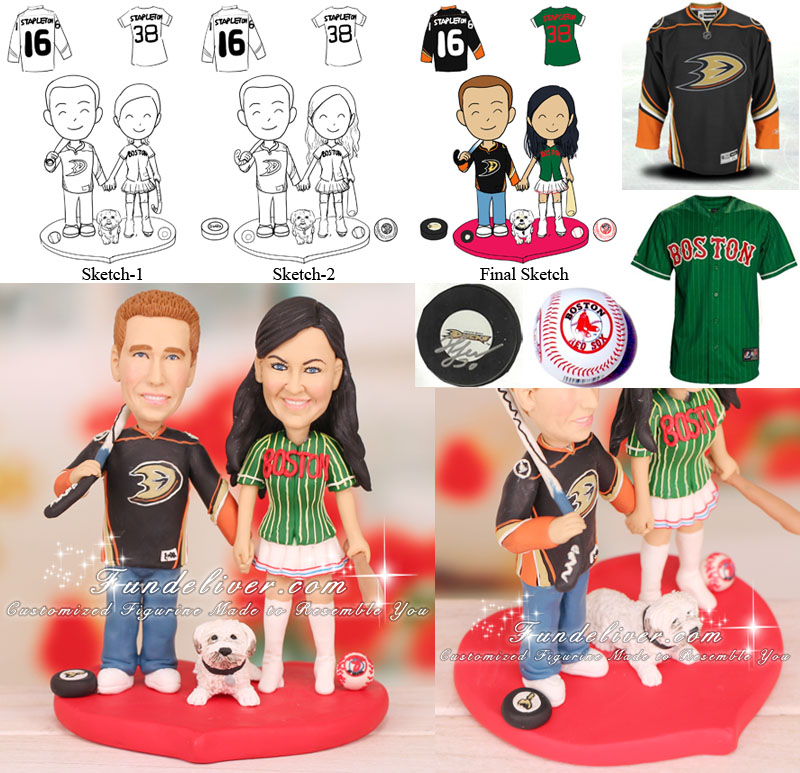 NHL Anaheim Ducks Wedding Cake Toppers Hockey Theme