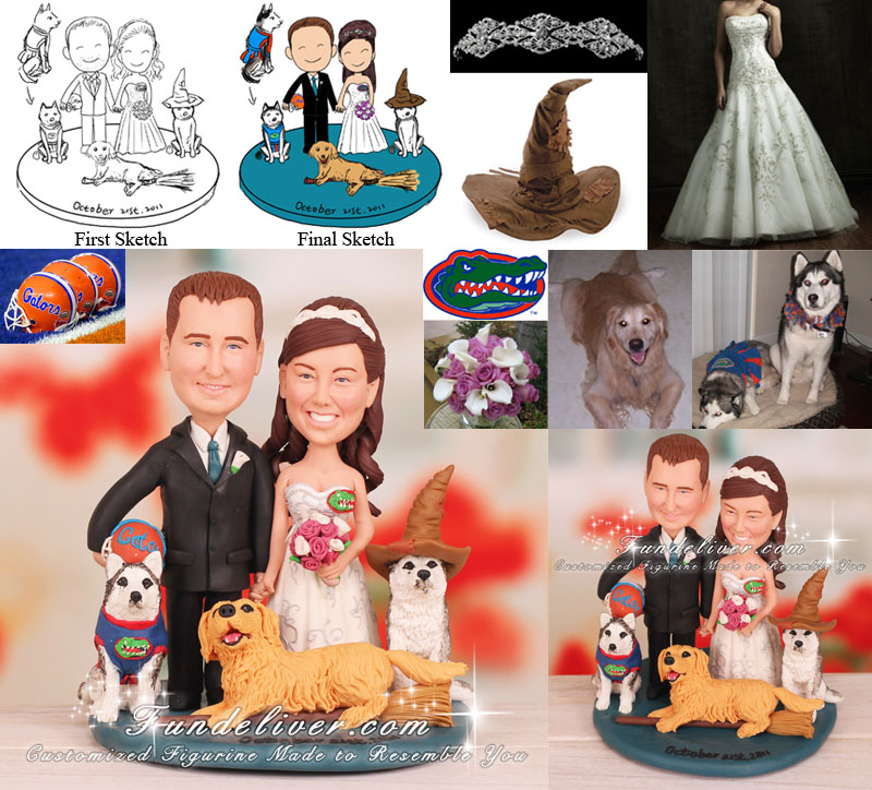 Pet Wedding Cake Topper Husky and Golden Retriever Theme