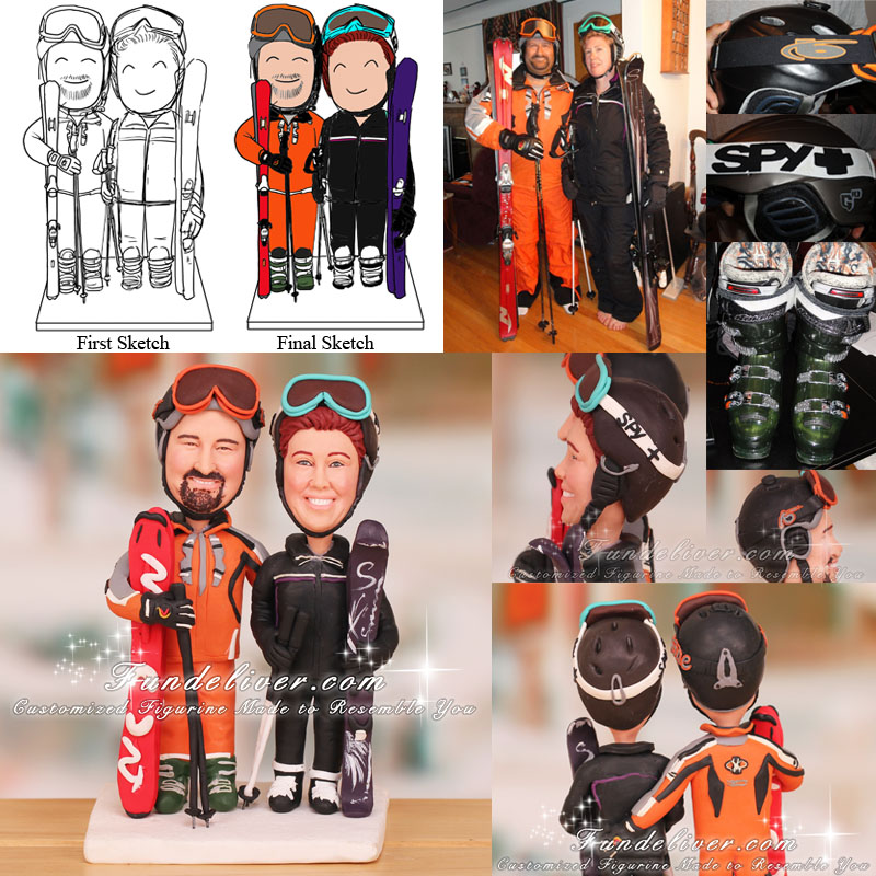 Couple Dressed Up in Ski Jackets and Ski Helmets Wedding Cake Toppers