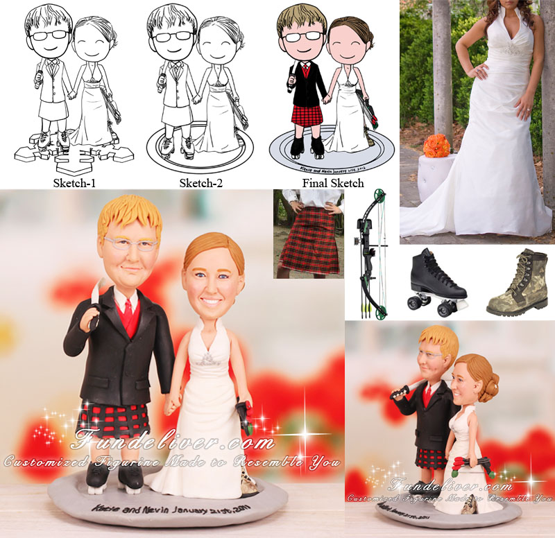 Bow Hunting and Roller Skate Theme Scottish Wedding Cake Toppers