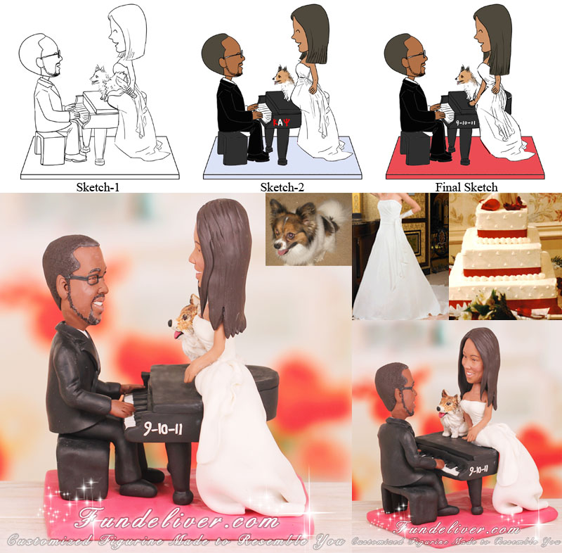 International Royal Wedding Cake Topper Groom Playing Piano