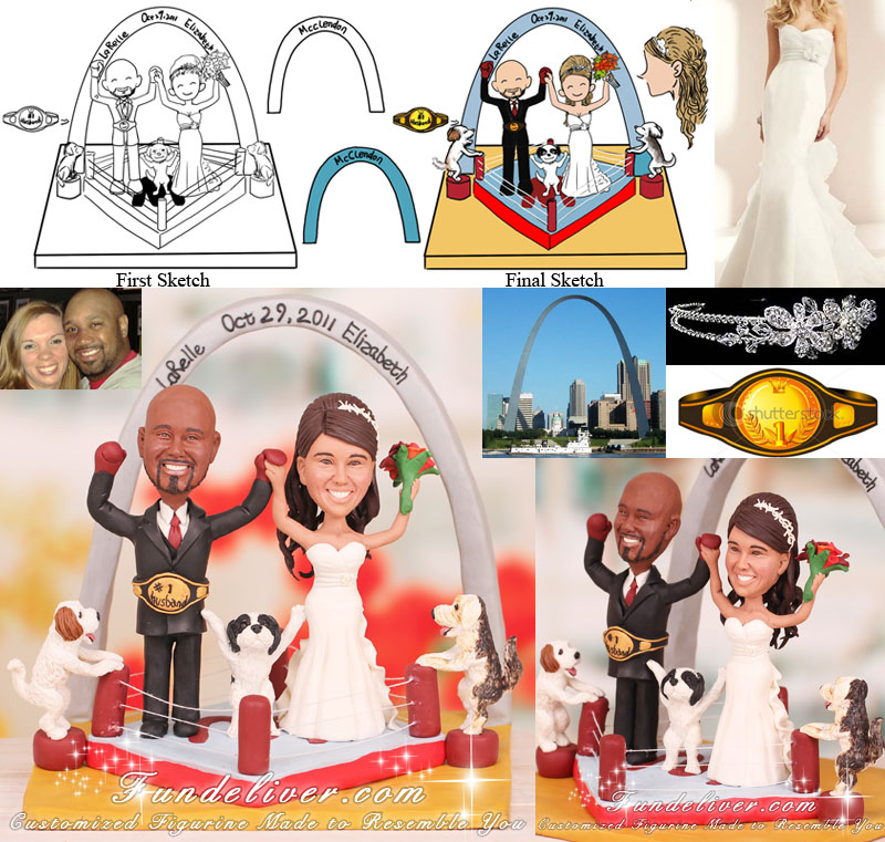 Boxing Cake Topper Couple Figurine in Victory Pose with Boxing Gloves on Hands