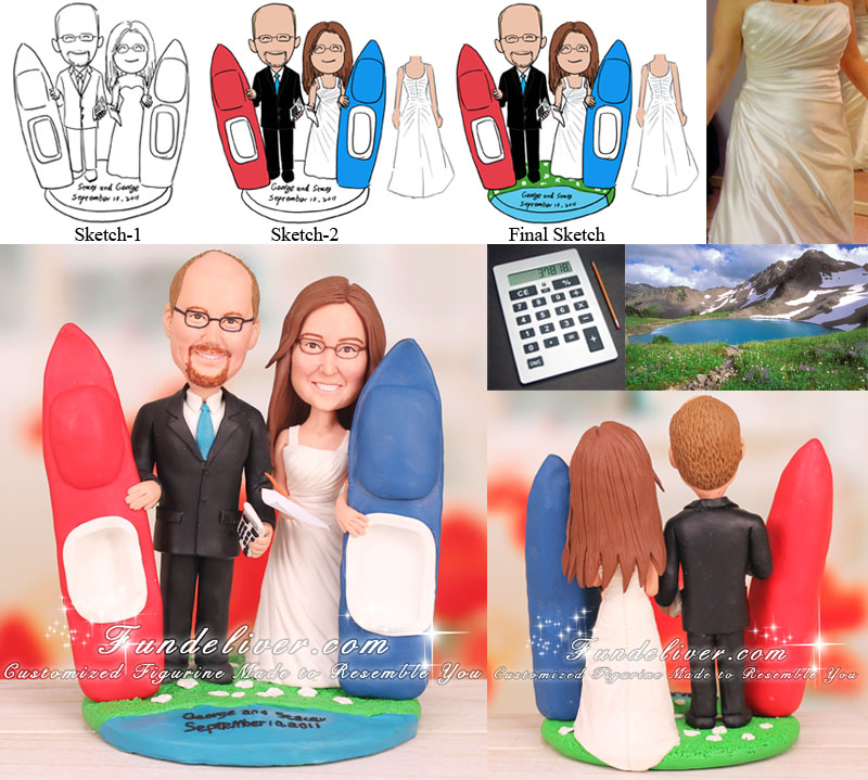 Accountant and Executive Assistant Wedding Cake Topper Kayak and Lake Theme