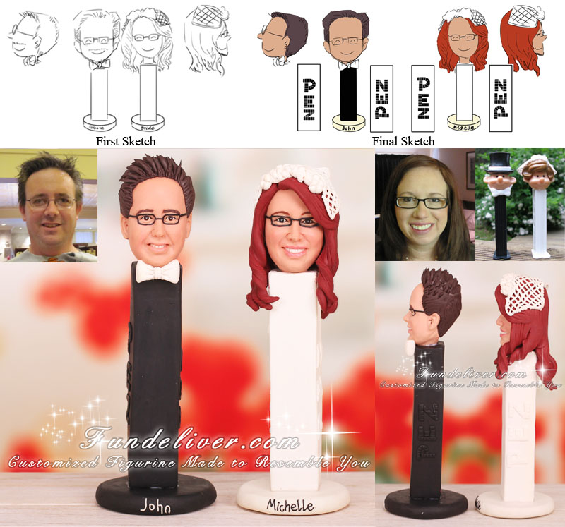 Customized Pez Bride and Groom Cake Topper