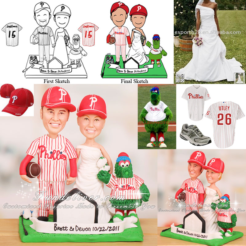 Phillies Cake Topper with Phillie Phanatic, Running Shoes and Golf Club