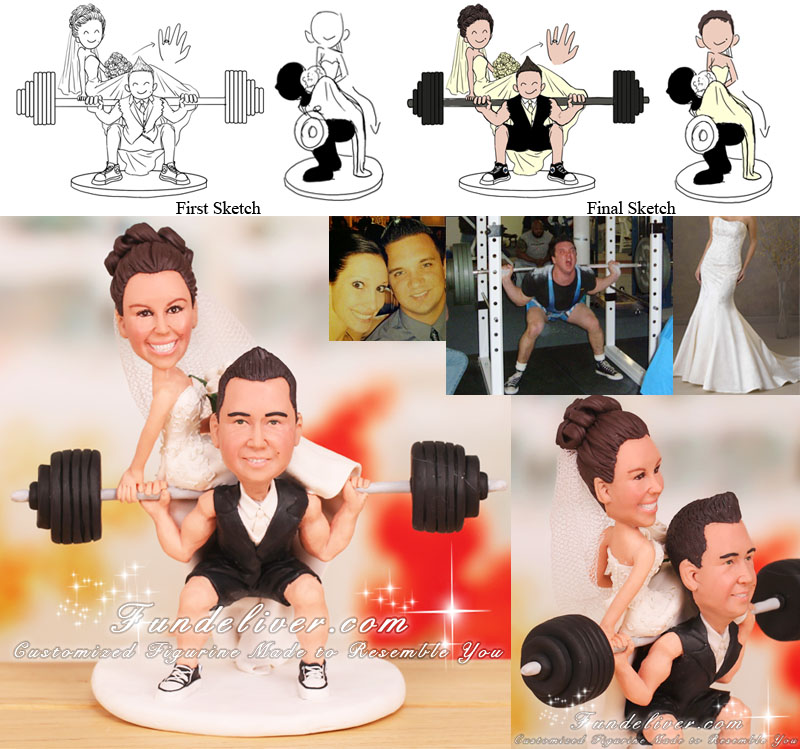 Groom in Squatting Position Bride Sitting on Barbell Powerlifting Cake Toppers