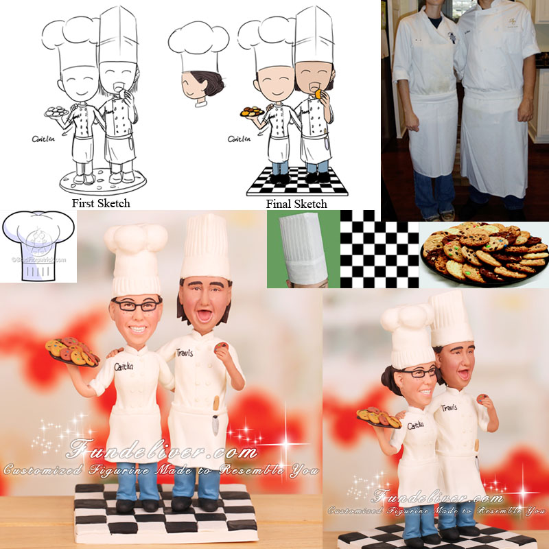 Pastry Chef and Chef Wedding Cake Topper