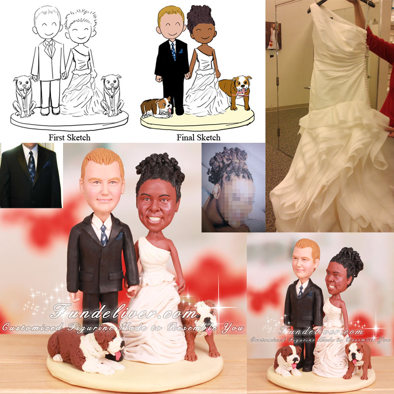 Wedding Cake Topper with Bull Dogs