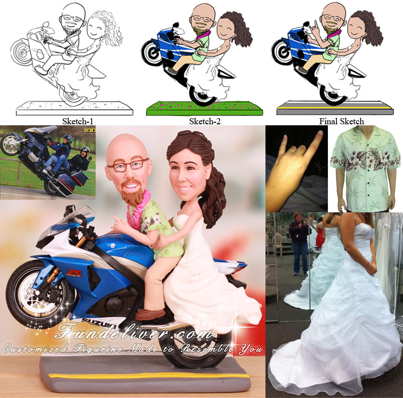 Couple Doing a Wheelie Wedding Cake Topper Motorcycle Theme