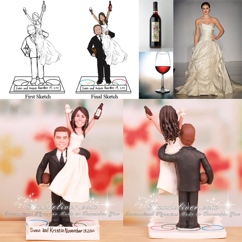 Bride on Groom's Shoulder Wedding Cake Toppers