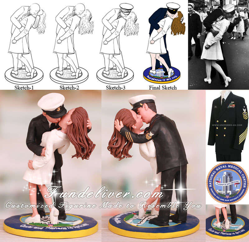 Kissing Navy Chief and Nurse Wedding Cake Toppers