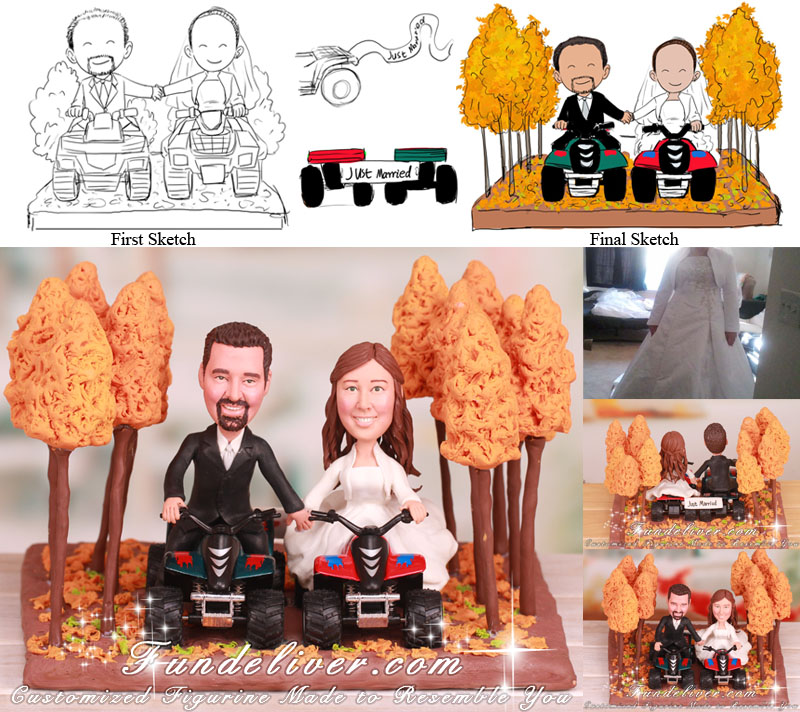 Four Wheelers Dirt Trail Riding in Woods Wedding Cake Toppers
