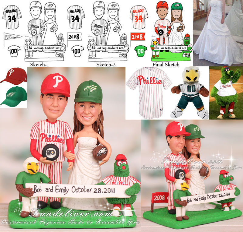 Philadelphia Eagles Wedding Cake Topper with the Mascot Swoop