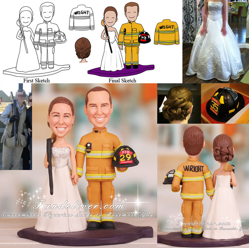 Bride Hold Shotgun and Firefighter Wedding Cake Toppers