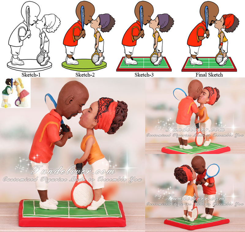 Tennis Cake Topper Kissing Tennis Players Theme
