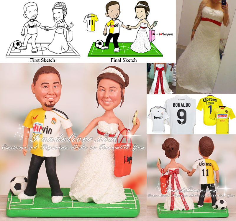 Bride Pulling Groom Away From Soccer to Go Shopping Cake Toppers