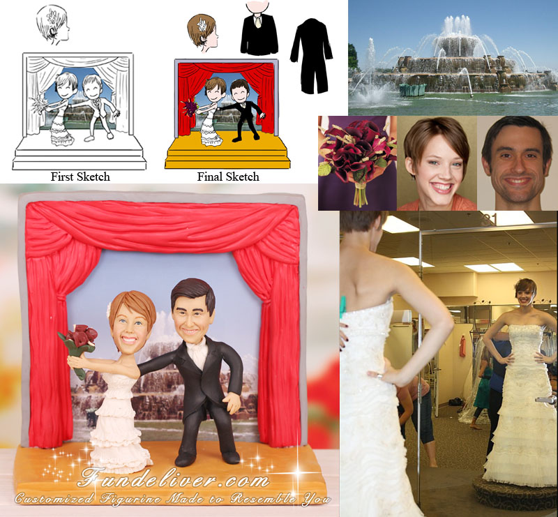 Producer and Actor Theatre Folk Wedding Cake Toppers