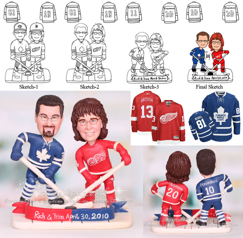 Toronto Maple Leafs Wedding Cake Toppers Hockey Themed