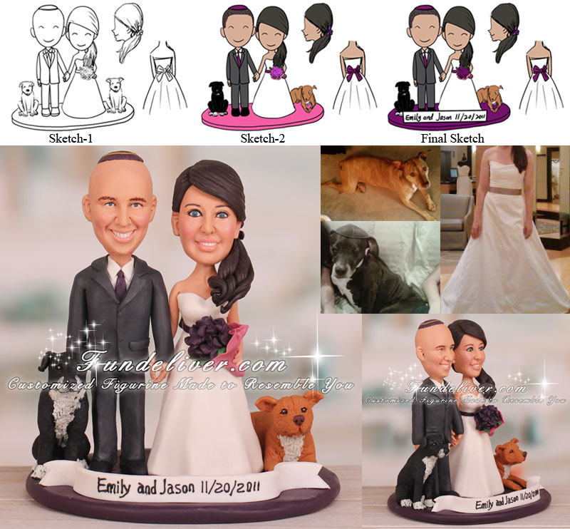 Unusual Wedding Cake Toppers with Pit Bull Dogs