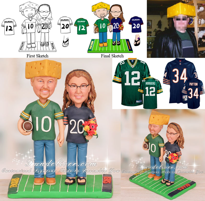 Green Bay Packers And Chicago Bears Wedding Cake Toppers Football Theme