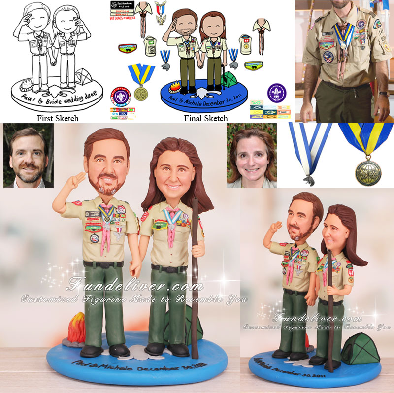 Boy Scout Theme Scoutmaster Wedding Cake Toppers