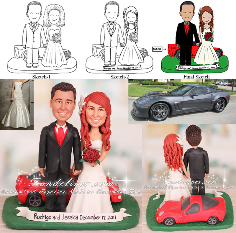 Sports Car Wedding Cake Toppers Chevrolet Corvette Theme