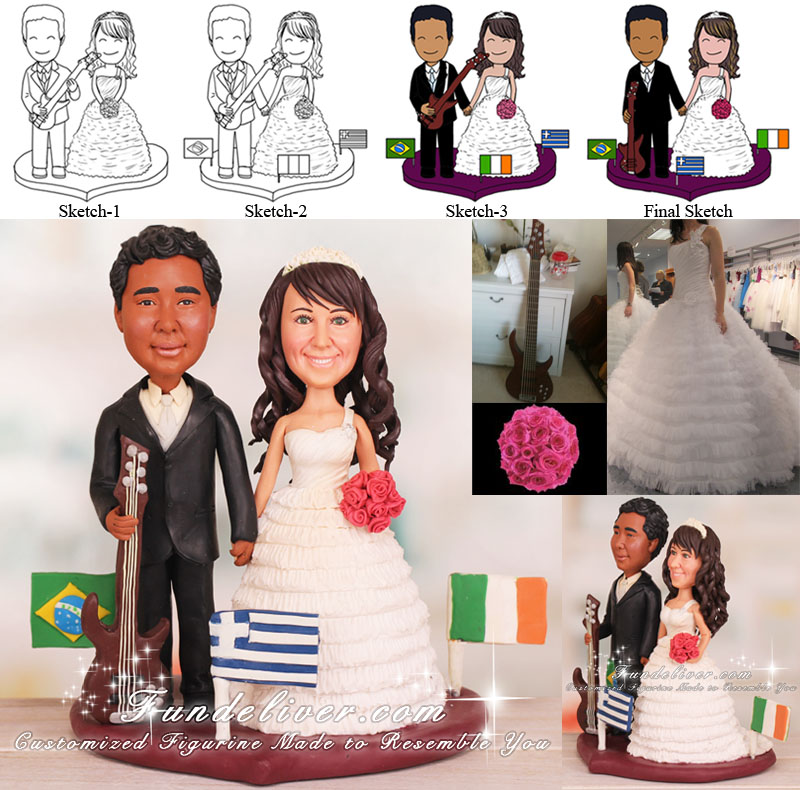 Multinational Bass Guitar Player Wedding Cake Toppers