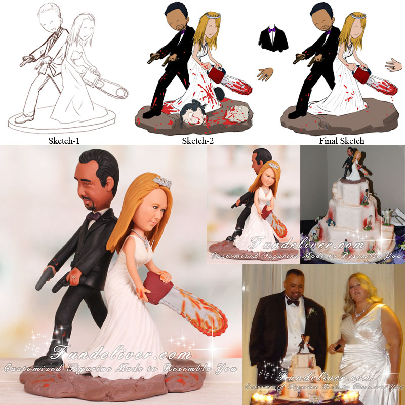 Zombie Wedding Cake Toppers Groom Holding Pistols Bride Wielding Chainsaw