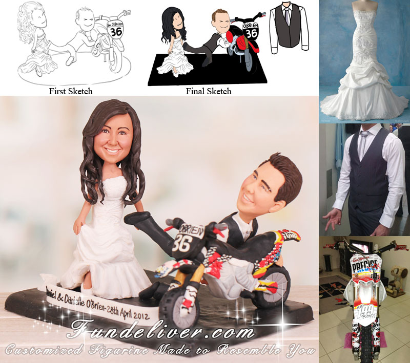 Bride Dragging Groom Off the Bike Wedding Cake Toppers