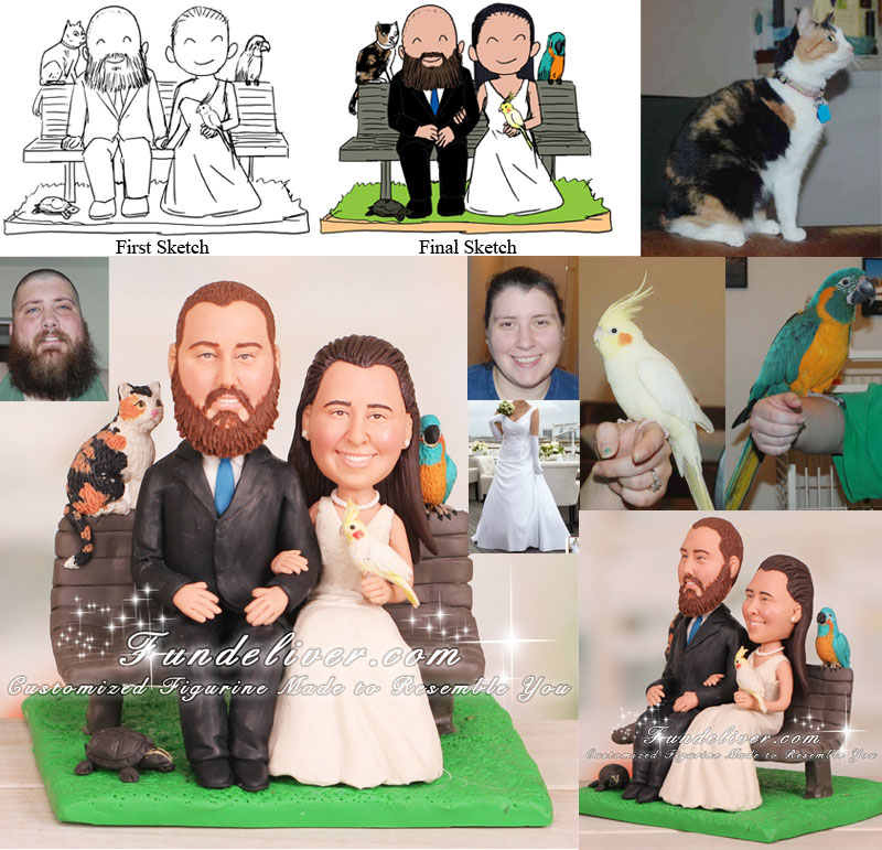 Couple Sitting on Park Bench with 4 Pets Animal Lovers Cake Toppers