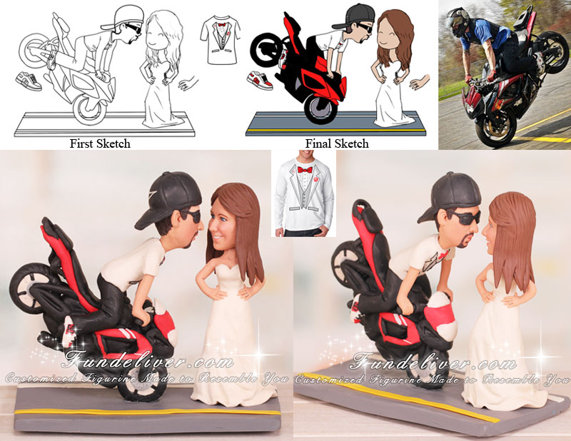 Groom Doing Stoppie Endo Front Wheelie Kissing Bride Cake Toppers