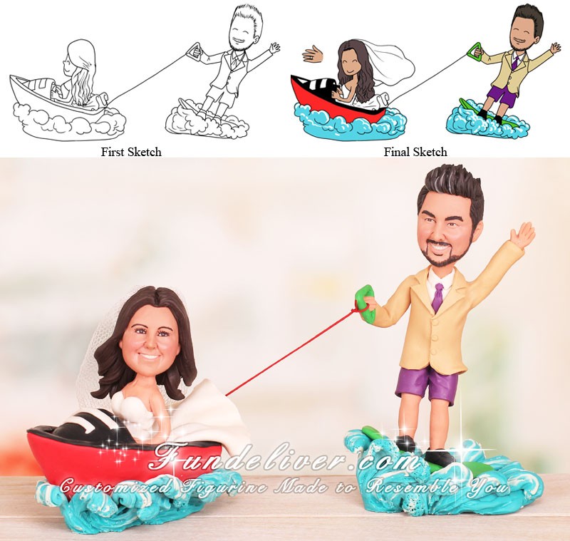 Bride Driving Speed Boat Groom on Wakeboard Wakeboarding Cake Toppers