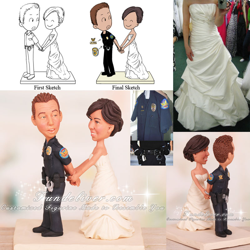 Bride Handcuffing Groom Funny Wedding Cake Toppers