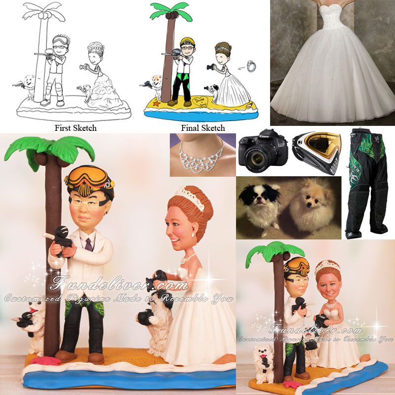 Groom Playing Paintball Bride Photographing Him Wedding Cake Toppers