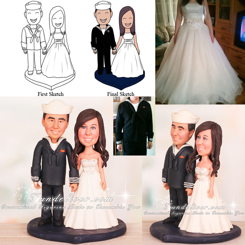 Groom in Navy Dress Blues Bride and Navy Groom Cake Toppers