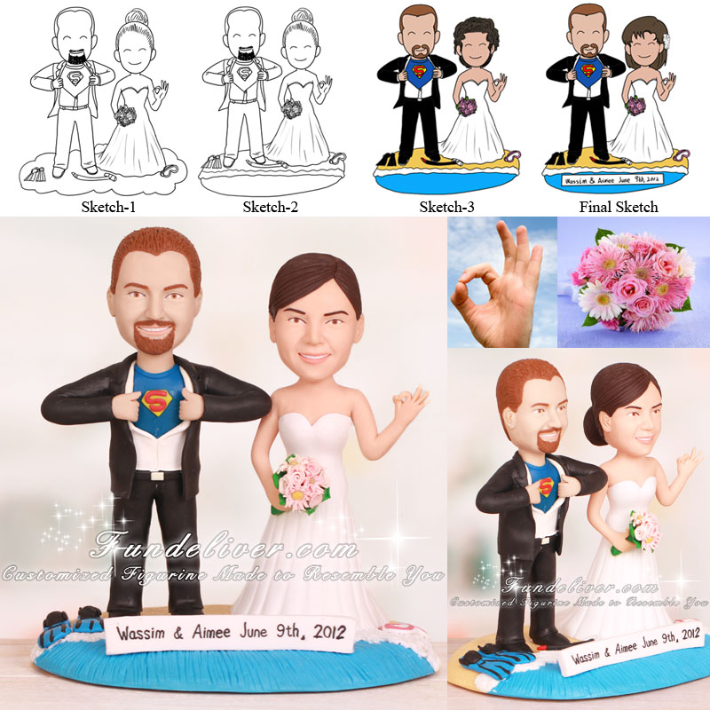 Superman Theme Ready to Dive Wedding Cake Toppers
