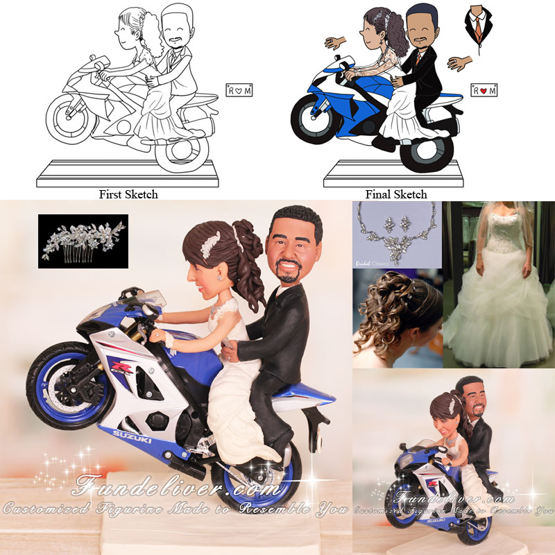 Bride Pops a Wheelie with Groom on Back Seat Motorcycle Cake Toppers