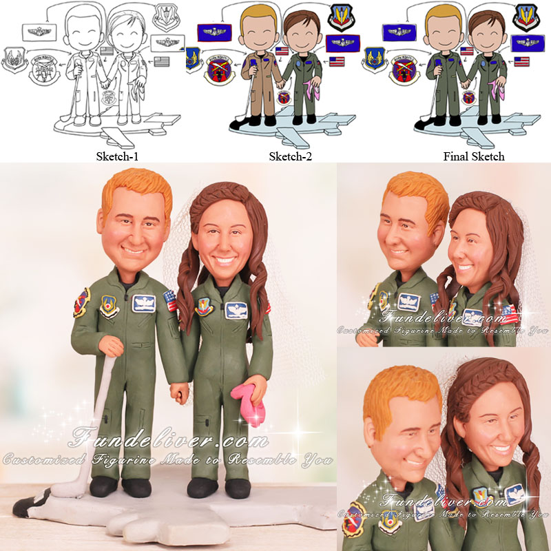 Couple Standing on Aircraft Cake Toppers