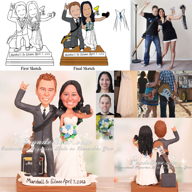 Guitar Player and Personal Photographer Wedding Cake Toppers