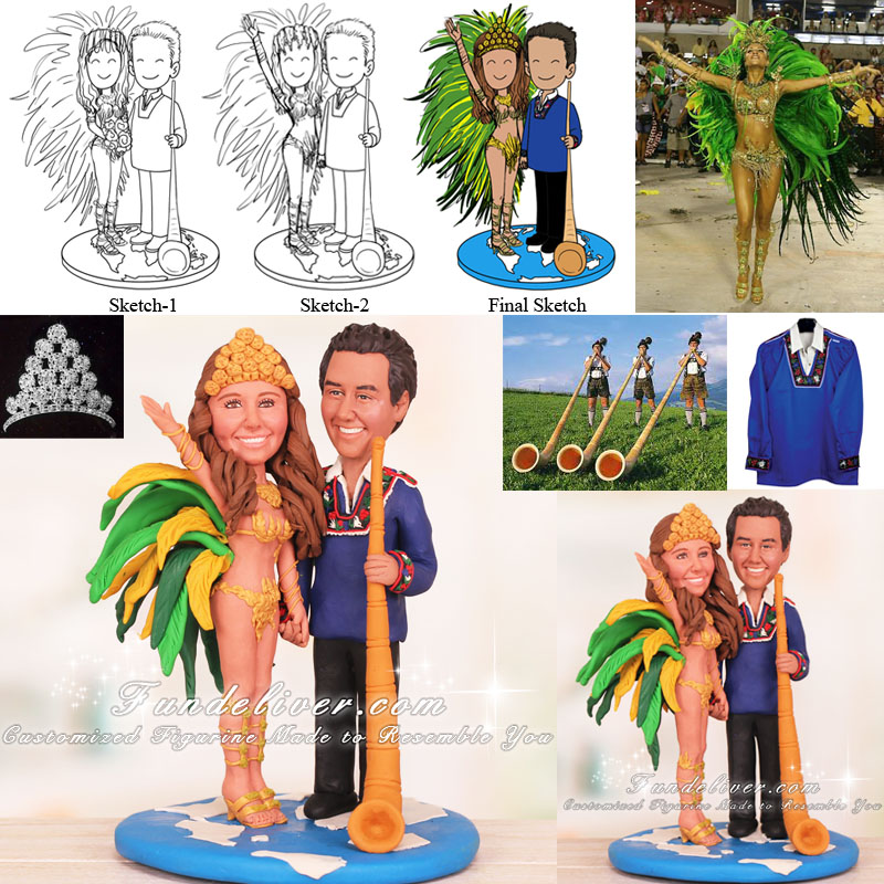 Couple in Traditional Dress of Brazil and Switzerland Cake Toppers