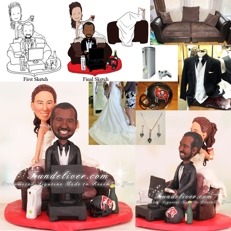 Bride Sitting on Couch While Groom Playing Video Game Cake Toppers