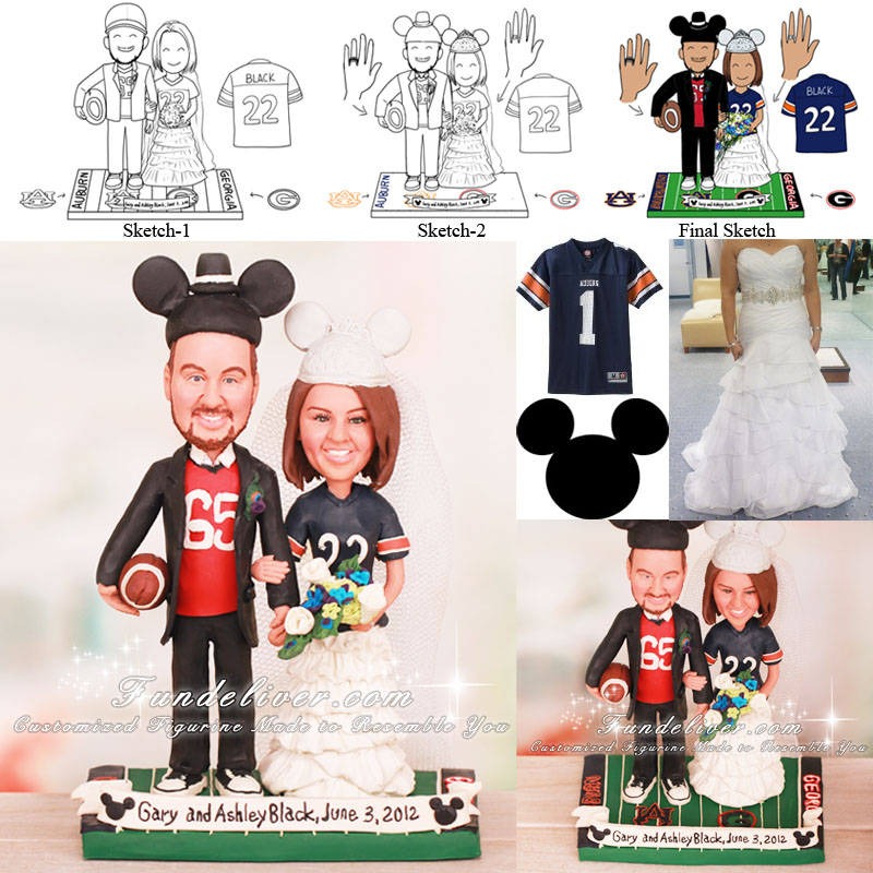 University of Georgia and Auburn University Wedding Cake Toppers