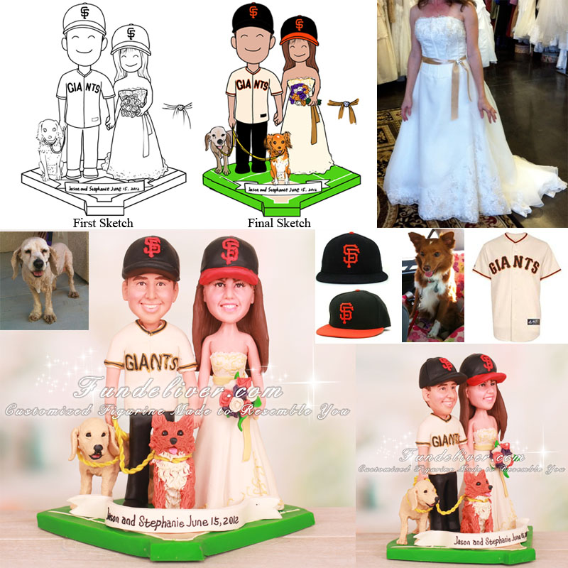 San Francisco Giants Baseball Wedding Cake Toppers with Dogs