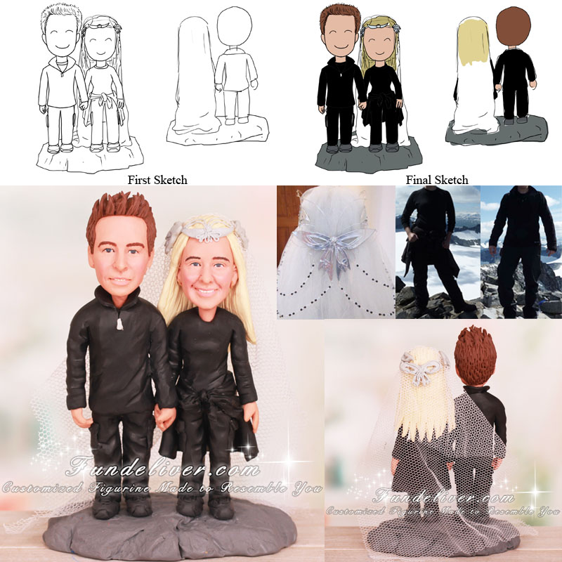 Mountain Climbers Wedding Cake Toppers