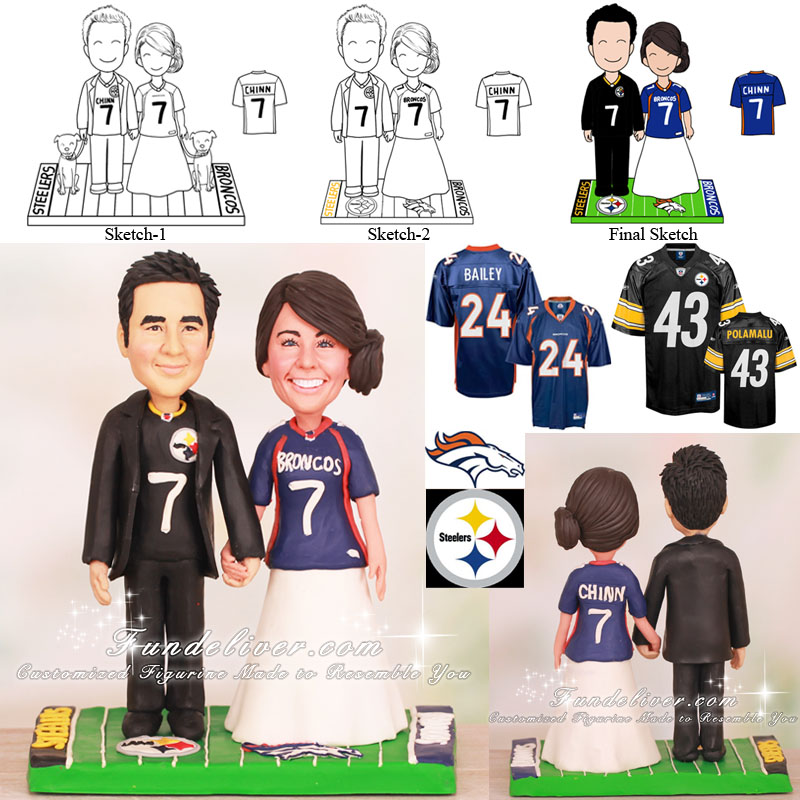 Broncos and Steelers Football Wedding Cake Toppers