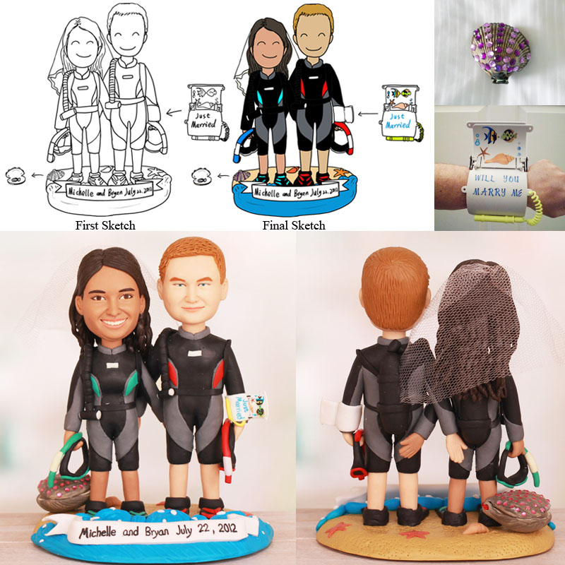 Scuba Diver Wedding Cake Topper with Ring Hidden in Seashell
