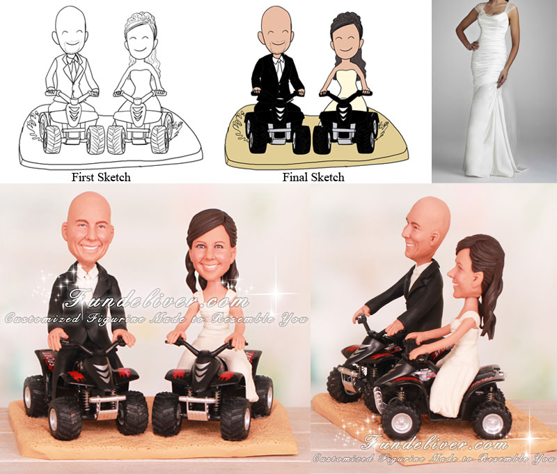 atv wedding cake topper on sand atv wedding cake toppers 10890