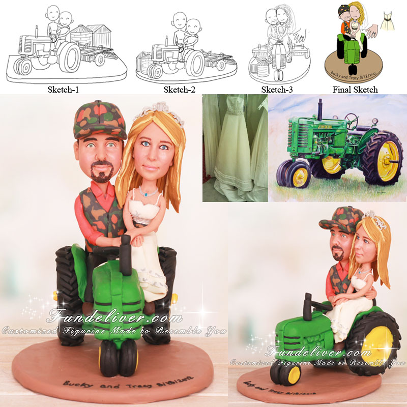 Farm Wedding Cake Topper with Tractor
